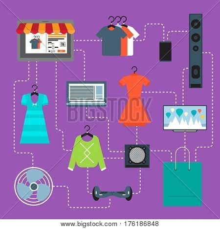 Online shopping in mall infographic vector illustration. Ecommerce concept with shop website in tablet computer screen. Buy in internet clothes, electronic gadgets and other at home, online retailer