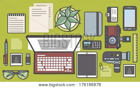 Mass media and press isolated icon set vector illustration. Professional journalist workplace, news reporter, online blogging, newsletter. Laptop, camera, smartphone, tablet, voice recorder, notebook.
