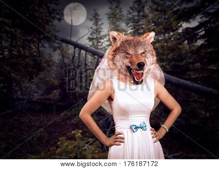 Bride with wolf head in the night wood