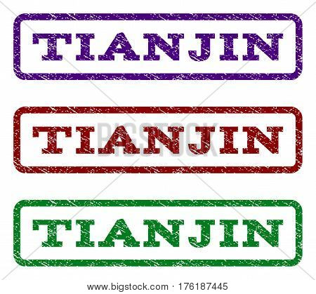 Tianjin watermark stamp. Text tag inside rounded rectangle with grunge design style. Vector variants are indigo blue, red, green ink colors. Rubber seal stamp with unclean texture.