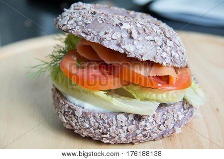 delicious Fresh bagel with smoke salmon sandwich