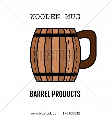 Wooden mug for beer, drinks. Color, flat icon isolated