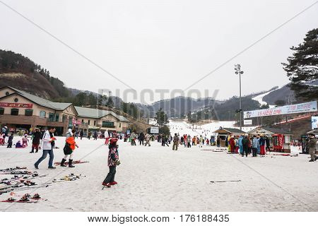 people enjoy ski in winter taken at Seoul South Korea on 14 February 2017