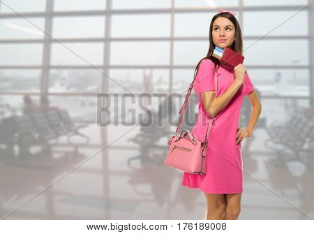 Young travelling girl in airport
