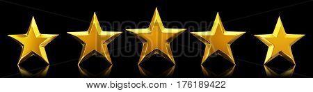 Five shiny golden stars - 3d rendering