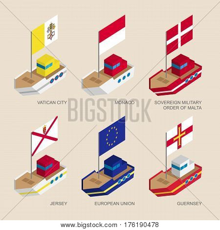 Set Of Isometric Ships With Flags Of European Countries