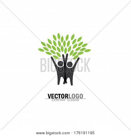 Friendship, Bonding, Together Organic People Logo, People Logo, Tree Logo, Vector Logo Template