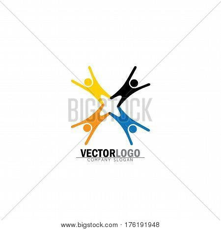 Team & Teamwork, Excited Employees, Motivated People - Vector Icon.