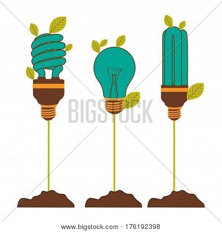 Incandescent and fluorescent bulbs in color turquoise with stem and leaves vector illustration