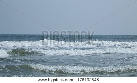 a landscape of Pradipat Beach in Hua Hin Thailand