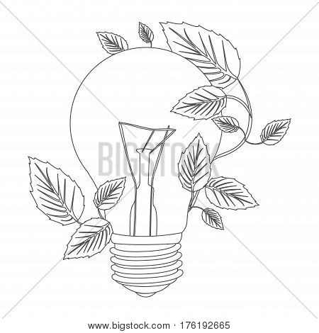 grayscale contour with light bulb and creeper plant vector illustration