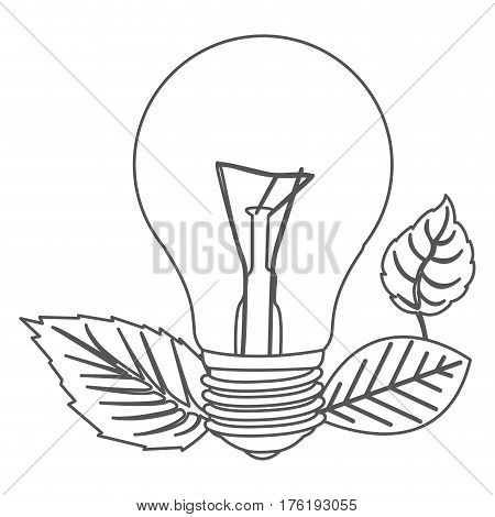 grayscale contour with light bulb and leaves vector illustration