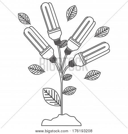 grayscale contour with plant stem with leaves and fluorescent bulbs vector illustration
