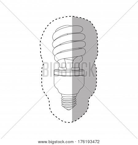 monochrome contour sticker of spiral fluorescent bulb vector illustration