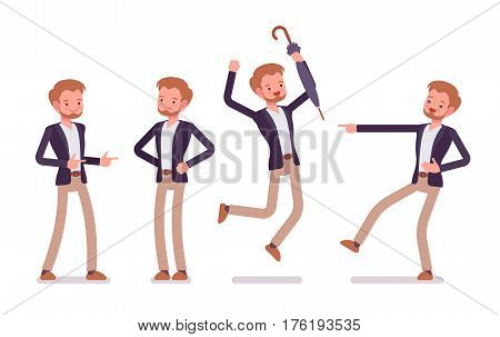 Set of young happy dandy wearing smart casual wear, mocking and pointing, jumping with joy, standing in akimbo pose, showing positive emotions full length, white background