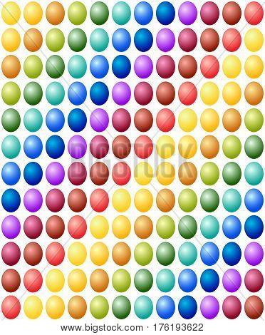 Seamless Pattern Easter Eggs Color Spectrum Background. Vector Illustration On White Background.