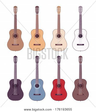 Set of professional acoustic guitars, musical string instrument, wooden with perfect sound for concert or party, harmony and hobby, isolated against white background, different colors