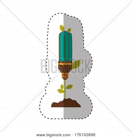 sticker of plant stem with leaves and fluorescent bulb with light turquoise vector illustration