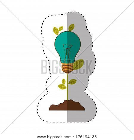 sticker of plant stem with leaves and Incandescent bulb with light turquoise vector illustration