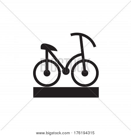 Vector icon or illustration showing riding bicycle in one color