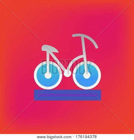 Vector icon or illustration showing riding bicycle in brutalism style