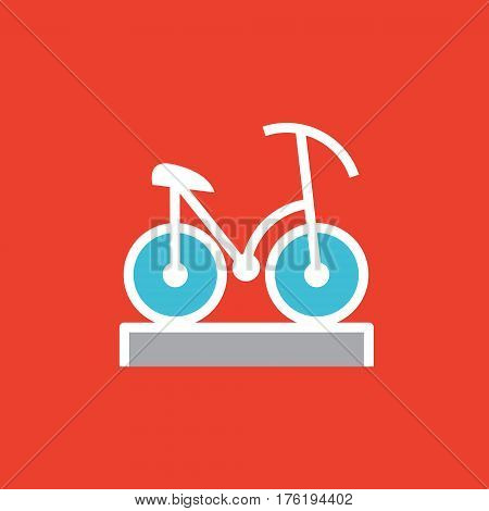Vector icon or illustration showing riding bicycle in outline style