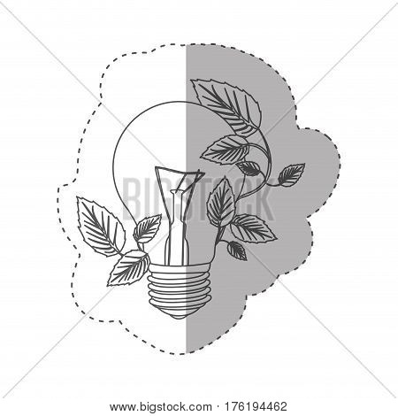 sticker with grayscale contour with light bulb and creeper plant vector illustration