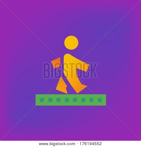 Vector icon or illustration showing walking human pedestrian in brutalism style