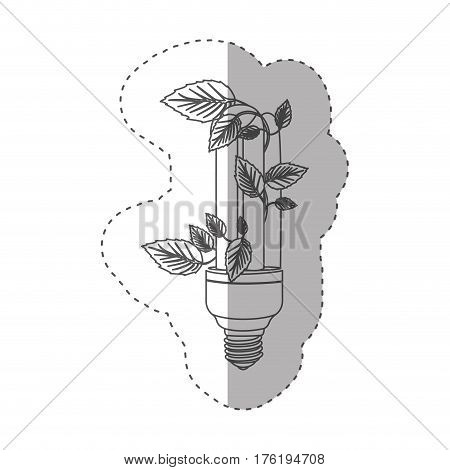 sticker with grayscale contour with fluorescent bulb and creeper plant close up vector illustration