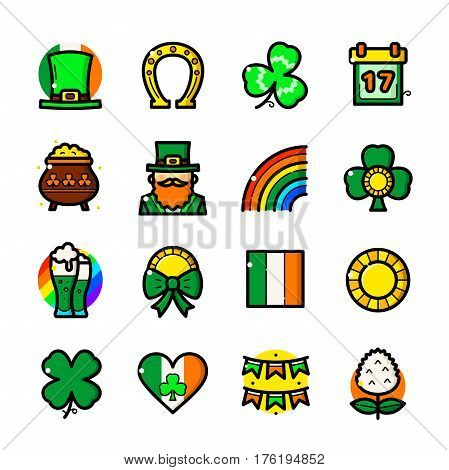 Thin line art St. Patricks Day icons set, holiday outline logos vector illustration