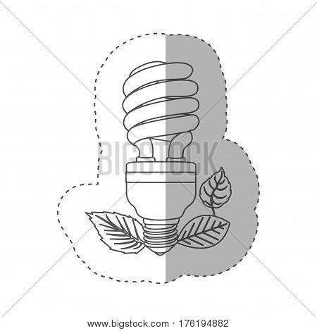 sticker with grayscale contour with fluorescent bulb spiral and leaves vector illustration
