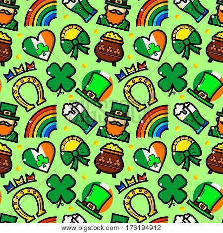 St. Patricks Day seamless pattern with objects in line style, holiday vector illustration