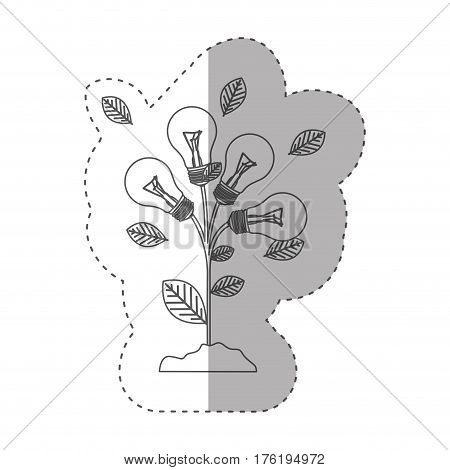 grayscale contour with plant stem with leaves and Incandescent bulbs vector illustration
