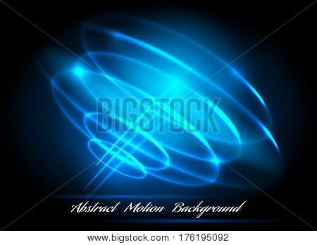 Glowing blue radial circles light whirl vector illustration. Whirlpool lighted lines abstract effects