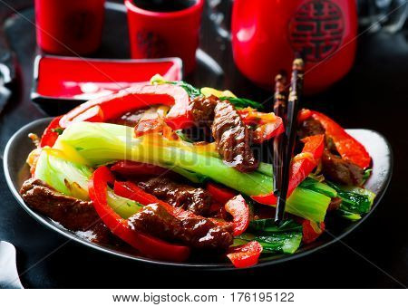 Beef Pepper and Bok-Choy Stir-Fry ..selective focus