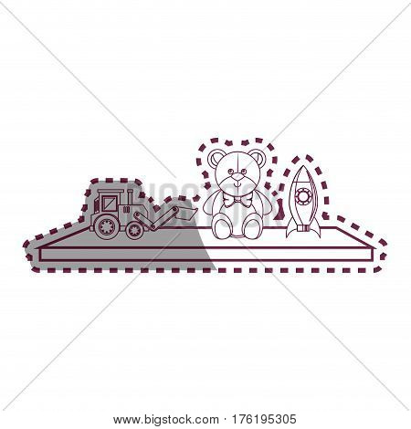 Toys on ledge icon vector illustration design