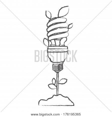 monochrome sketch with plant stem with leaves and fluorescent bulb spiral vector illustration