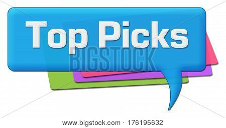 Top picks text written over colorful background.