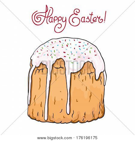 Easter cake . color vector sketch on a white background