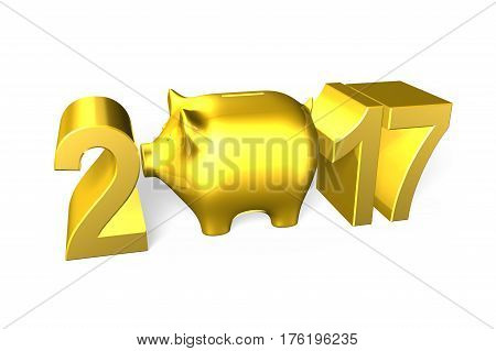 Piggy Bank With 2017 New Year Concept, 3D Illustration.