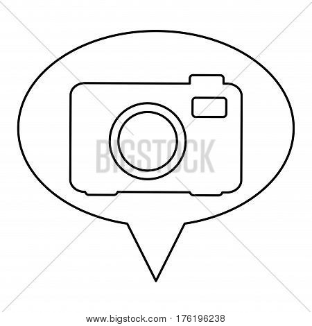 monochrome contour of oval speech with analog camera vector illustration