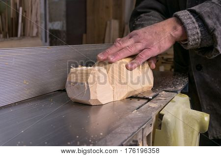 carpenter at work, jointing of wood