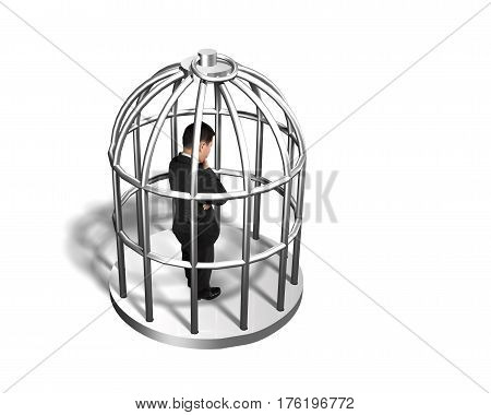 Cage With Man Thinking Inside