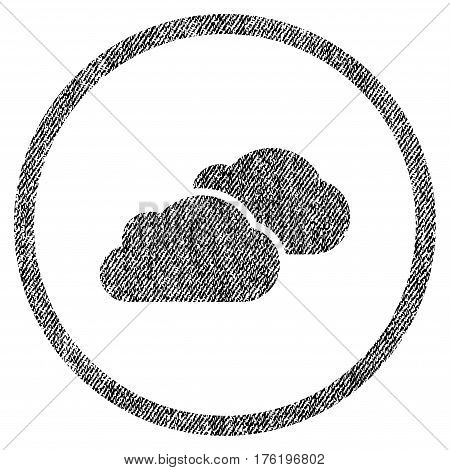 Clouds vector textured icon for overlay watermark stamps. Fabric black vectorized texture. Symbol with scratched design. Rubber seal stamp with fiber textile structure.