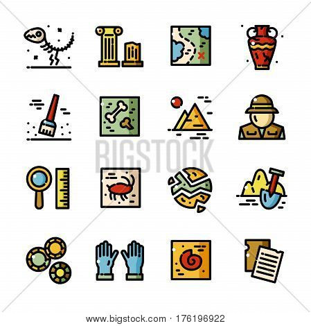 Thin line Archeology icons set, Historical excavations outline logos vector illustration