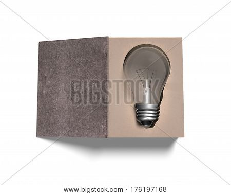 Open Book With Light Bulb Inside, 3D Illustration