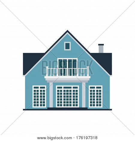 House front view vector illustration. Houss flat style modern constructions vector. House front facade building architecture home construction, urban house building apartment front view