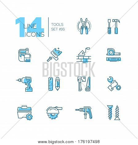 Tools - coloured modern vector single line icons set. Pliers, screwdriver, hammer, paint, brush, roller, brick, trowel, tapeline, level, drill, pencil, ruler, saw, axe, wrench, hand, toolbox