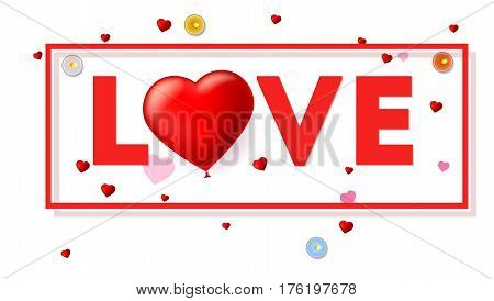 Love card with typography a large red heart in the form of an inflatable, scarlet balloon. Top view on composition with candles, tinsel and confetti on white background. Template for creative persons
