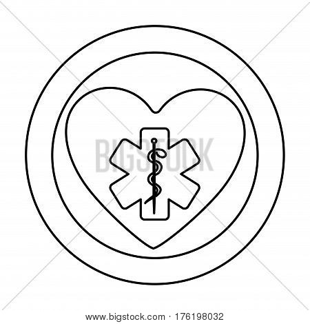 monochrome silhouette of heart inside of double circle with star of life vector illustration